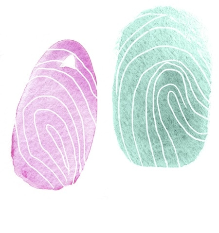 Watercoloured fingertip prints
